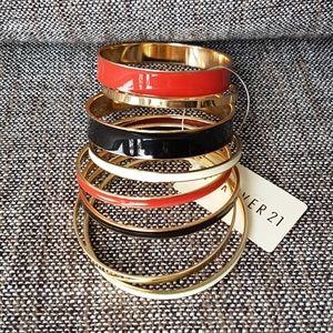 Jewelry - Set of 8 Enamel and Gold Bangles Bracelets NWT